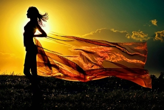 Girl In Sunrise Wallpaper for Android, iPhone and iPad