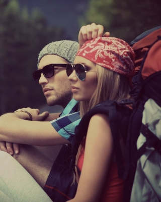 Man and Girl Hiking Background for 360x640