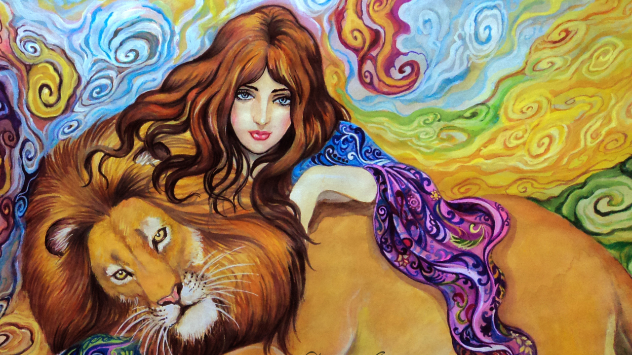 Girl And Lion Painting