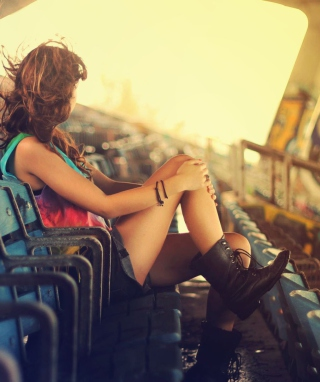 Girl Sitting In Stadium Background for 1080x1920