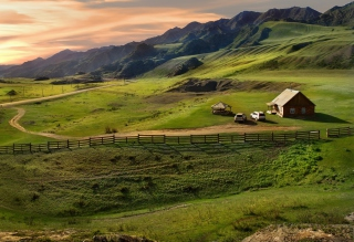 Little House In Mountains Background for Desktop Netbook 1024x600