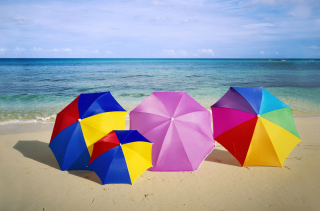 Umbrellas On The Beach Picture for Android, iPhone and iPad