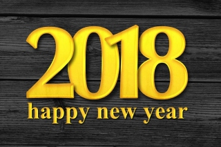 2018 New Year Wooden Texture Wallpaper for Android, iPhone and iPad