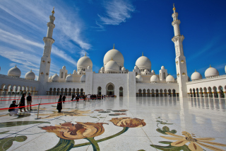 Kostenloses Sheikh Zayed Mosque located in Abu Dhabi Wallpaper für Android, iPhone und iPad