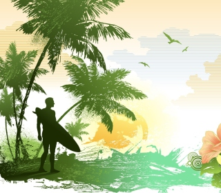 Tropical Vector Art Background for 1024x1024