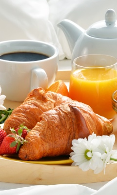 Breakfast with croissant and musli wallpaper 240x400