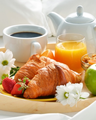 Breakfast with croissant and musli Background for Nokia Asha 305