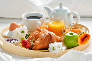 Breakfast with croissant and musli Background for 960x854