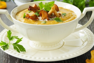 Cream of Chanterelle Mushroom Soup Background for Android, iPhone and iPad