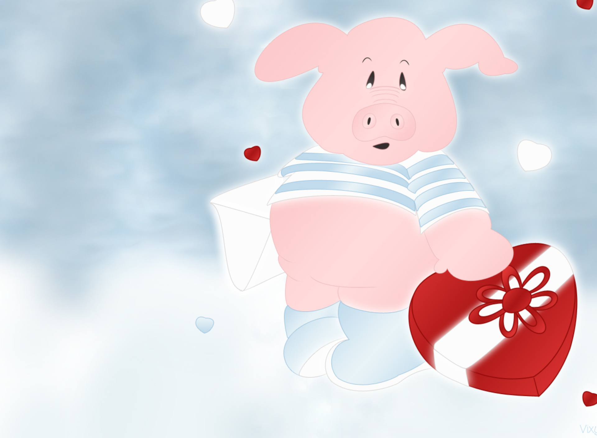 Screenshot №1 pro téma Pink Pig With Heart 1920x1408