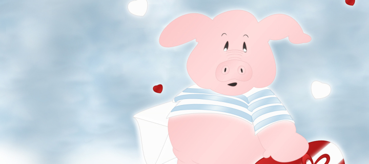 Screenshot №1 pro téma Pink Pig With Heart 720x320