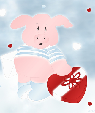 Free Pink Pig With Heart Picture for HTC Titan