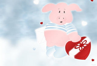 Pink Pig With Heart Wallpaper for Android, iPhone and iPad