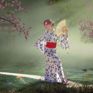 Japanese Girl In Kimono in Sakura Garden sfondi gratuiti per iPad mini
