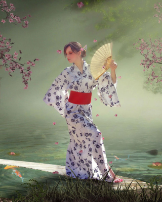 Kostenloses Japanese Girl In Kimono in Sakura Garden Wallpaper für 320x480