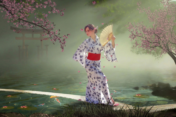 Das Japanese Girl In Kimono in Sakura Garden Wallpaper