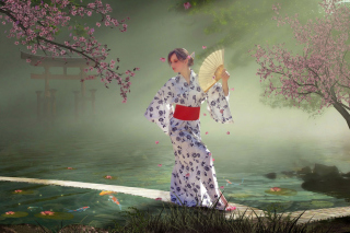 Japanese Girl In Kimono in Sakura Garden Wallpaper for Android, iPhone and iPad