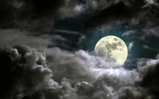 Free Full Moon Behind Heavy Clouds Picture for Android, iPhone and iPad