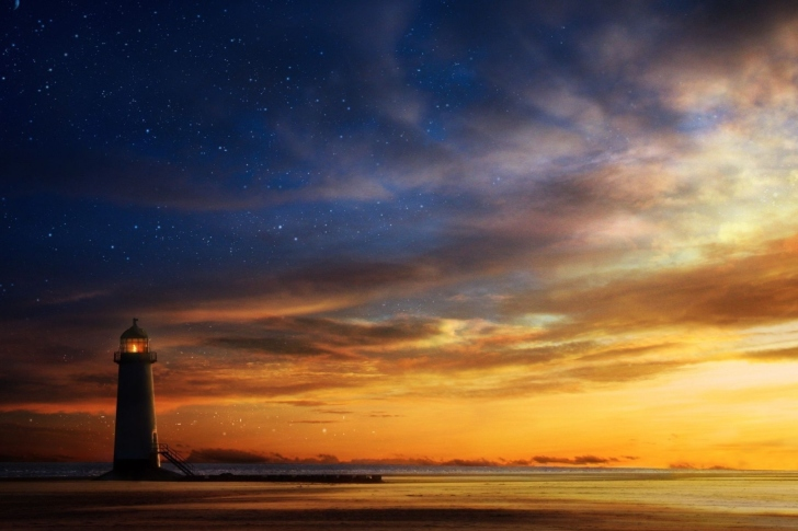 Lighthouse at sunset wallpaper