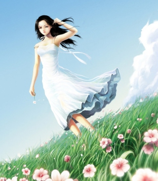 Girl In White Dress Background for 240x320