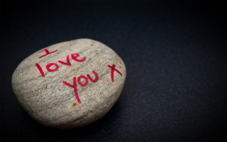 Free I Love You Written On Stone Picture for Android, iPhone and iPad