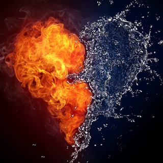 Water and Fire Heart - Fondos de pantalla gratis para iPad 2