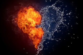 Water and Fire Heart Background for Android, iPhone and iPad