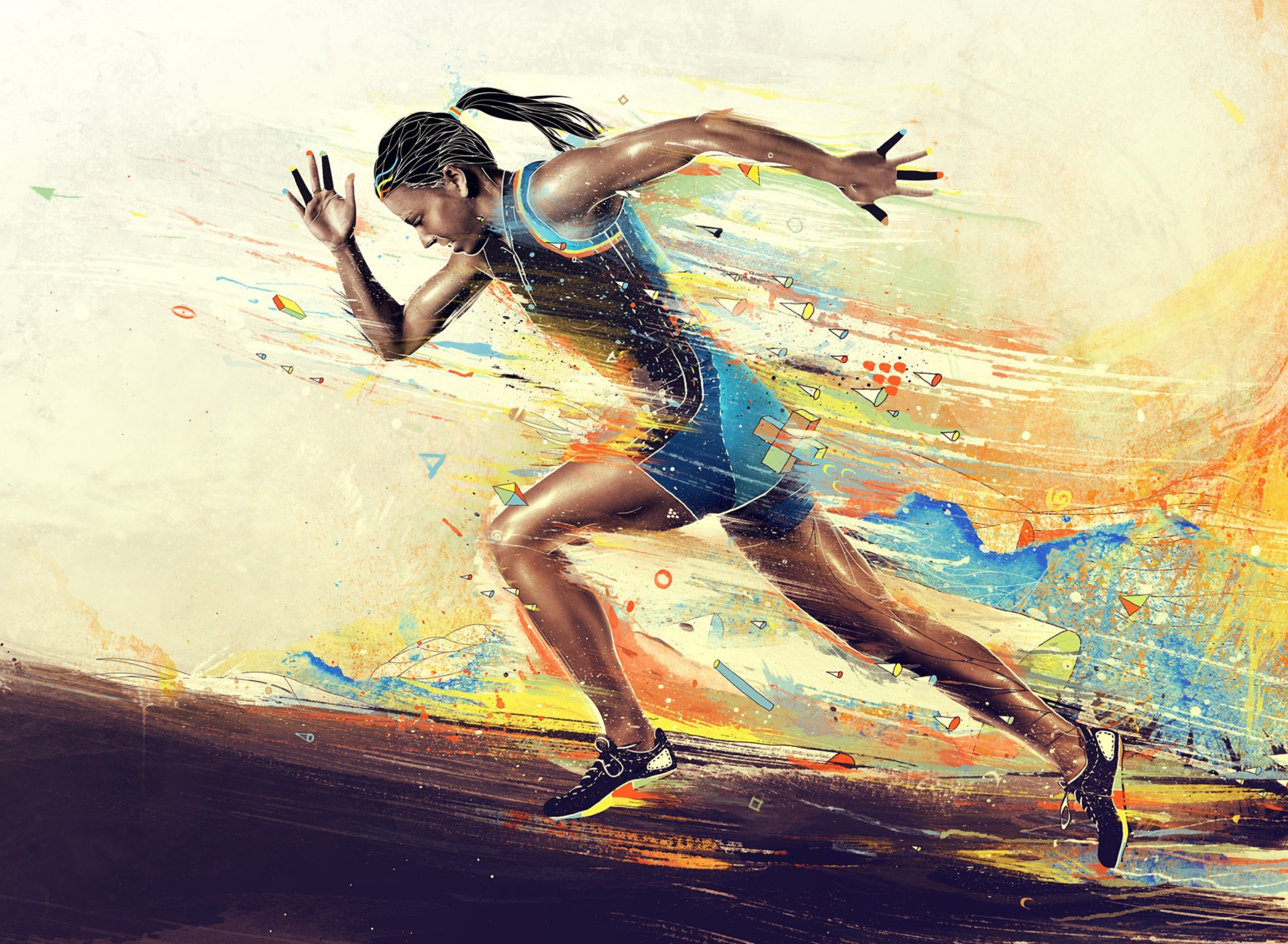 Screenshot №1 pro téma Running Woman Painting 1920x1408