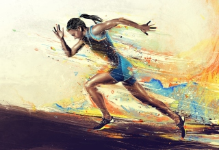 Running Woman Painting Background for 1920x1408