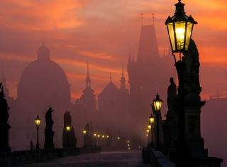 Charles Bridge - Prague in fog Background for Android, iPhone and iPad