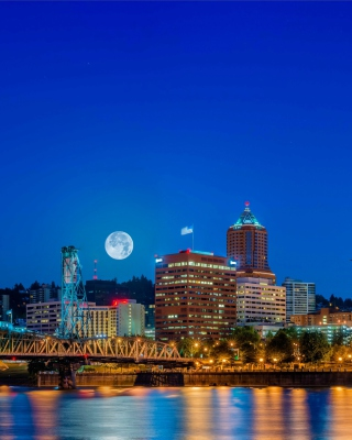 Night in Portland Oregon sfondi gratuiti per iPhone 6 Plus