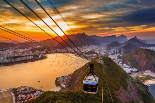 Copacabana Sugar Loaf Funicular, Rio de Janeiro Background for Android, iPhone and iPad