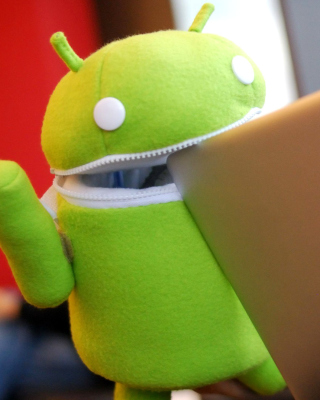 Android Robot and Apple MacBook Air Laptop Background for HTC Titan