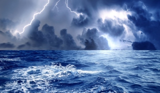 Storm And Blue Sea sfondi gratuiti per 1680x1050