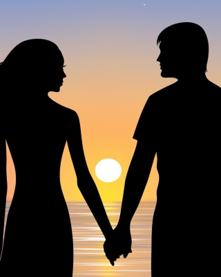 Romantic Sunset Silhouettes Background for HTC Titan