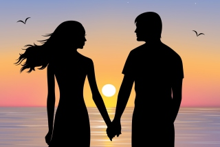 Romantic Sunset Silhouettes Background for Android, iPhone and iPad