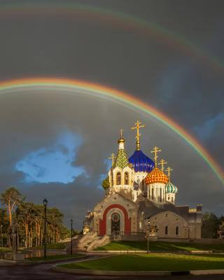 The Church of St. Igor of Chernigov in Peredelkino Wallpaper for Nokia Asha 310