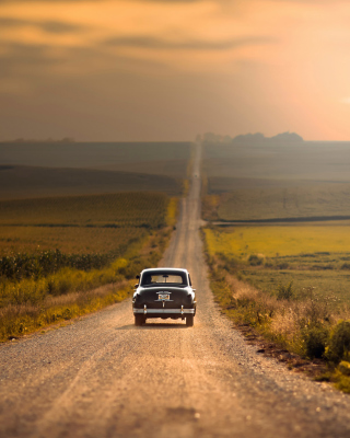 Retro Car on Highway Wallpaper for iPhone 6 Plus
