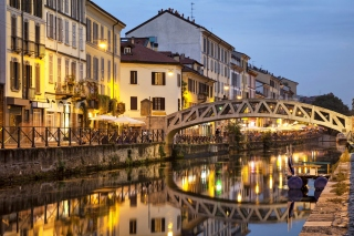 Milan Canal Navigli District Picture for Android, iPhone and iPad