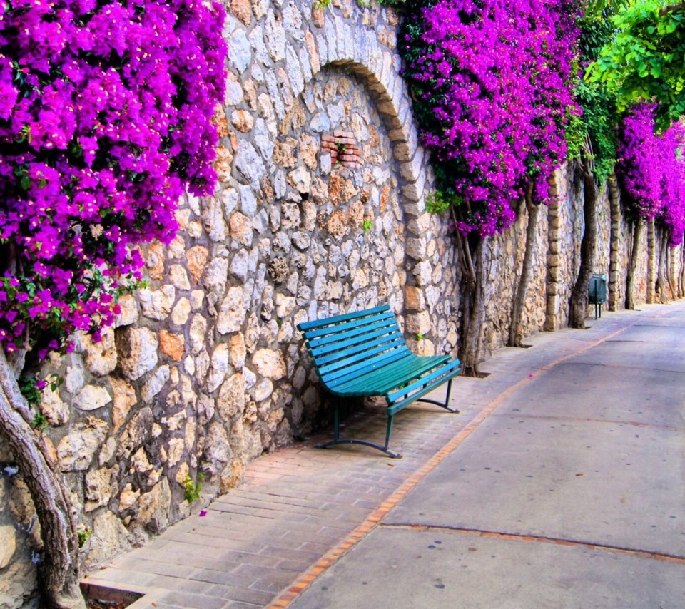 Bench And Purple Flowers para Sony Ericsson XPERIA PLAY