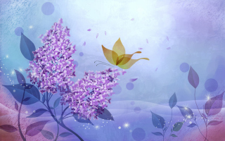 Butterfly Lilac Art Background for Android, iPhone and iPad