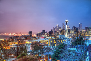 Seattle Panorama Photo Background for Android, iPhone and iPad