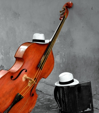 Contrabass And Hat On Street Wallpaper for Nokia C1-01