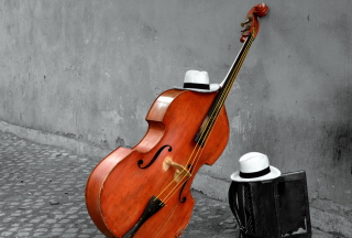 Contrabass And Hat On Street Wallpaper for 640x480