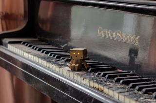 Danbo Pianist Wallpaper for 1024x600