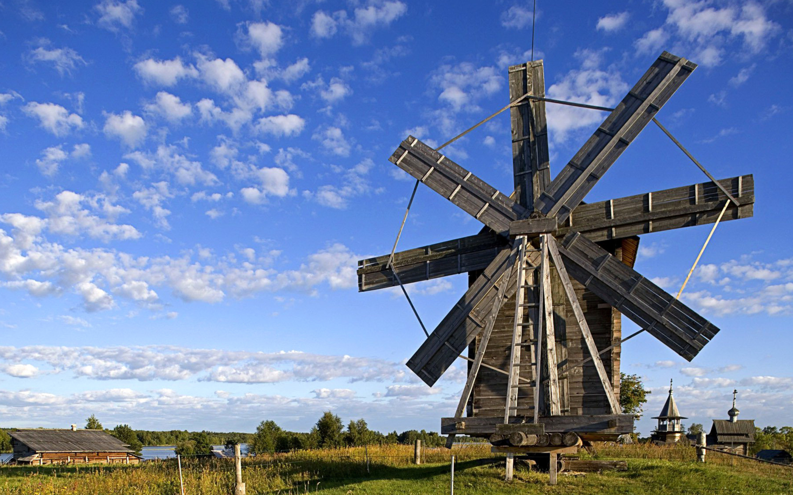 Screenshot №1 pro téma Kizhi Island with wooden Windmill 2560x1600