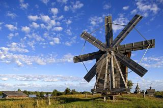 Kizhi Island with wooden Windmill Wallpaper for Android, iPhone and iPad