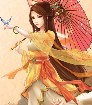 Japanese Woman & Butterfly Wallpaper for Nokia C2-03