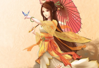 Japanese Woman & Butterfly Background for Android 2560x1600