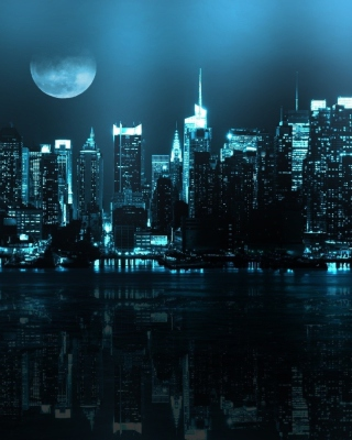 City In Moonlight sfondi gratuiti per 768x1280